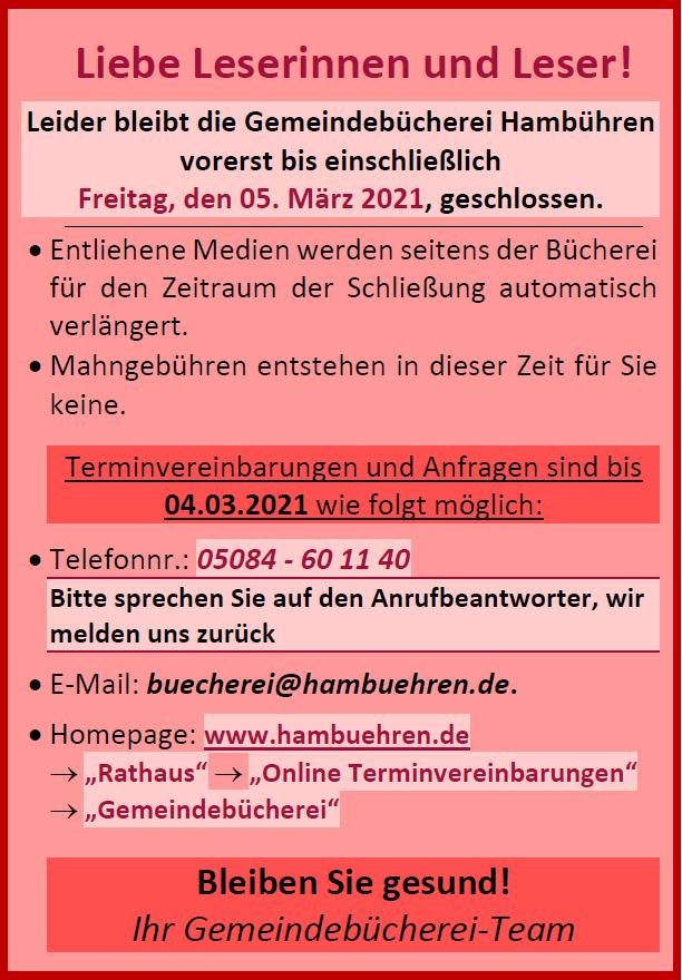 Schließung der Gemeindebücherei bis voraussichtlich 07.03.2021.©Gemeinde Hambühren