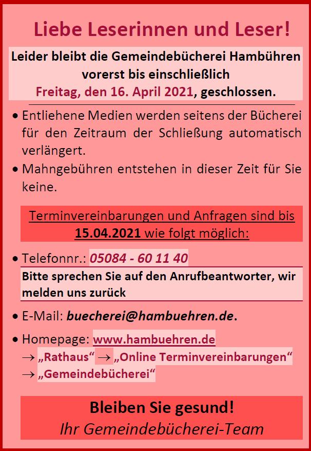 Bis zum 16.04.2021 nur Termine©Gemeinde Hambühren
